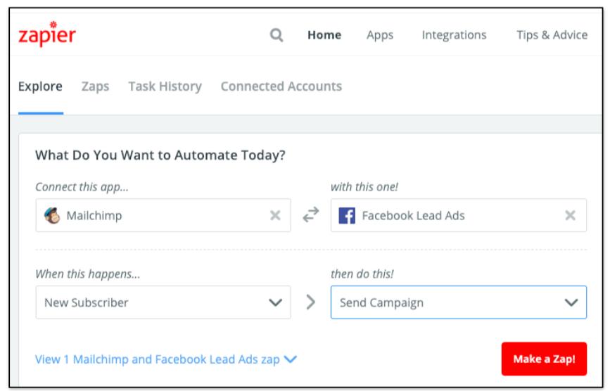 Collegare Facebook e Mailchimp