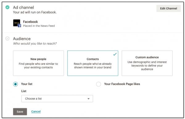Creare una campagna Facebook con Mailchimp